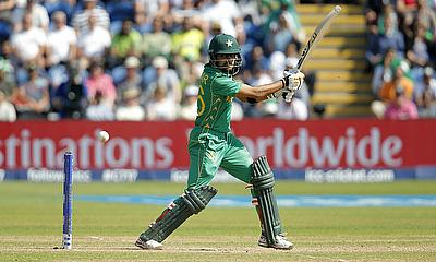 Pakistan's Babar Azam in action