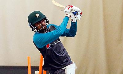 Pakistan's Babar Azam during nets