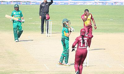 Shakera Selman appeals to the Umpire for LBW of Aiman Anwer (10th Pakistan wicket).