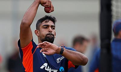 Ish Sodhi bowls during nets