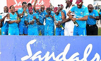 Windies players celebrating their victory by 10 wickets