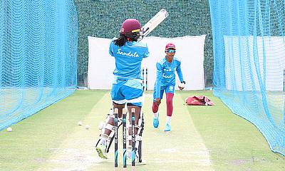 Shemaine Campbelle throwing to Stafanie Taylor in the nets during training at the ICC Academy in Dubai