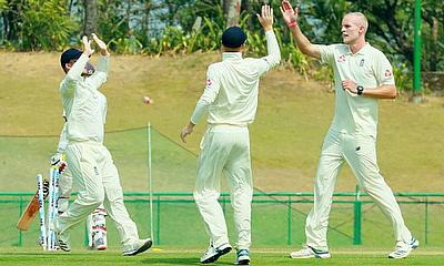 Zak Chappell picked up three wickets for England Lions in India A's first innings