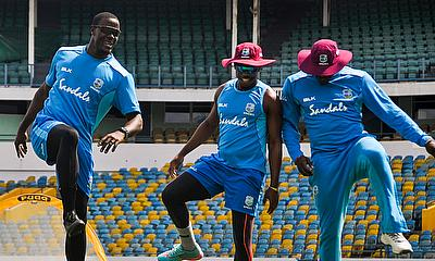 Carlos Brathwaite, Shimron Hetmyer and Sheldon Cottrell enjoying their warm-ups.