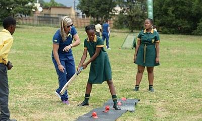 Mignon du Preez with kids during the Proteas women team celebrate International Womens Day