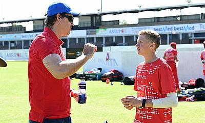 Paul Harris giving Coca-Cola All-Star player Zuan Swart from Cambridge College bowling tips