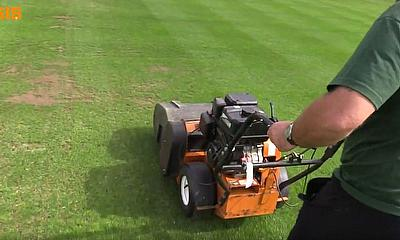 SISIS Auto Rotorake MK5 Pedestrain Scarifier at Bloxham School Cricket Pitches