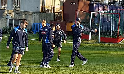 Warm up training session for the Leinster Lightning Squad with skipper George Dockrell  in the in the foreground