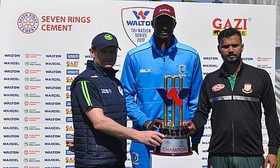 Captains William Porterfield (Ireland), Jason Holder (West Indies) and Mashrafe Mortaza (Bangladesh) with the trophy at the official unveiling.