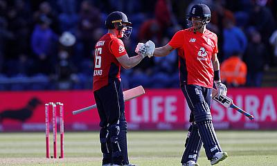 England's Eoin Morgan celebrates winning the match