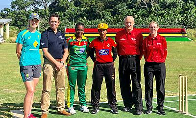 Holly Ferling with umpires and captains ahead of PNG and Vanuatu