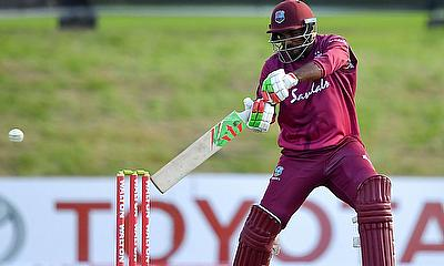 Sunil Ambris plays a cut shot during his maiden ODI century