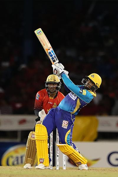 Nicholas Pooran of Barbados Tridents hits six during the Hero Caribbean Premier League