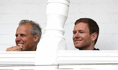 National selector Ed Smith (left) and England ODI captain Eoin Morgan pictured at Trent Bridge.