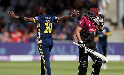 Hampshire's Fidel Edwards celebrates the wicket of Somerset's Azhar Ali