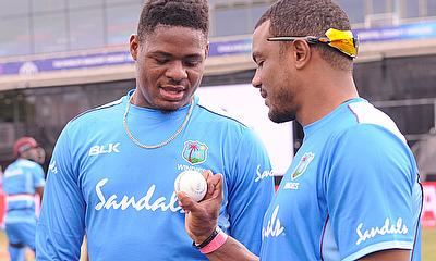 Oshane Thomas talks to fellow fast bowler Shannon Gabriel