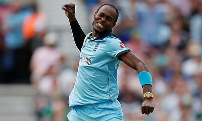 England's Jofra Archer celebrates the wicket of South Africa's Rassie van der Dussen