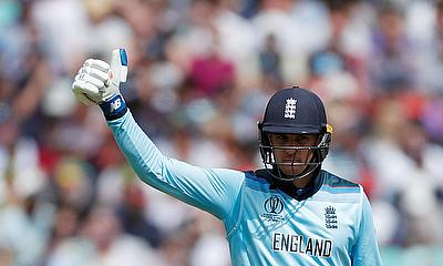 England's Jason Roy celebrates reaching a half century