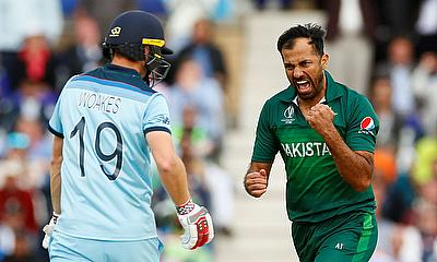 Pakistan's Wahab Riaz celebrates the wicket of England's Chris Woakes
