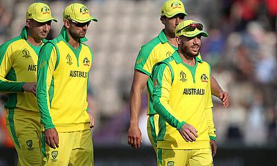 Australia's David Warner with team mates