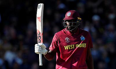 ICC Cricket World Cup - Australia v West Indies - Trent Bridge, Nottingham, Britain - June 6, 2019 West Indies' Jason Holder celebrates reaching a hal