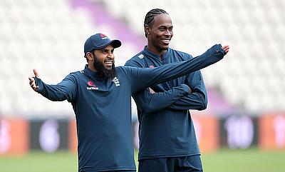 England's Adil Rashid and Jofra Archer during nets