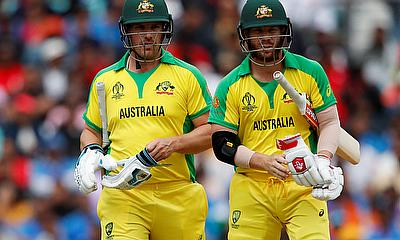 Australia's Aaron Finch and David Warner during the match