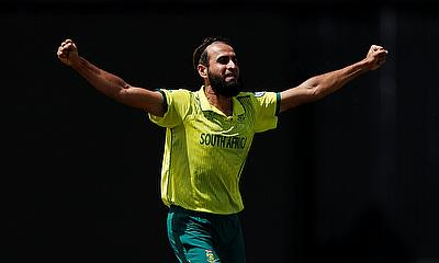South Africa's Imran Tahir celebrates taking the wicket of Bangladesh's Mohammad Mithun
