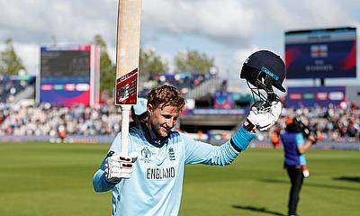 England's Joe Root celebrates his century A