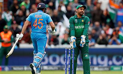 Pakistan's Sarfaraz Ahmed reacts after a chance to catch of India's Rohit Sharma was misse
