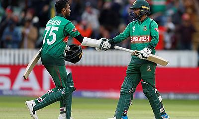 Bangladesh's Shakib Al Hasan and Liton Das celebrate winning