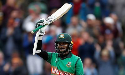 Bangladesh's Shakib Al Hasan celebrates reaching his century