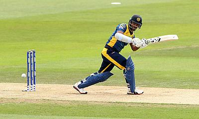 Sri Lanka's Dimuth Karunaratne in action