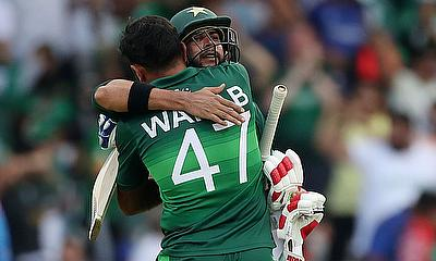 Pakistan's Imad Wasim and Wahab Riaz celebrate winning