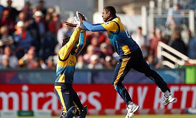 Sri Lanka's Angelo Mathews celebrates after taking the wicket of West Indies' Nicholas Pooran