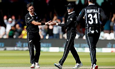 New Zealand's Trent Boult celebrates taking the wicket of Australia's Jason Behrendorff to complete a hat-trick