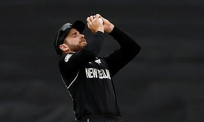 New Zealand's Kane Williamson takes a catch to dismiss India's Ravindra Jadeja