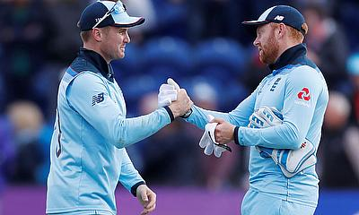 England's Jason Roy and Jonny Bairstow celebrate winning the match