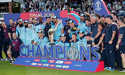ICC Cricket World Cup Final - New Zealand v England - Lord's, London, Britain - July 14, 2019 England celebrate winning the world cup with the trophy