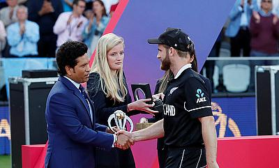 New Zealand's Kane Williamson during the presentation after the match