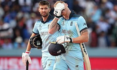 England's Ben Stokes and Mark Wood before the super over