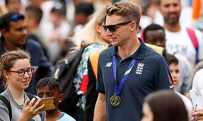 England's Jos Buttler with fans during the celebrations
