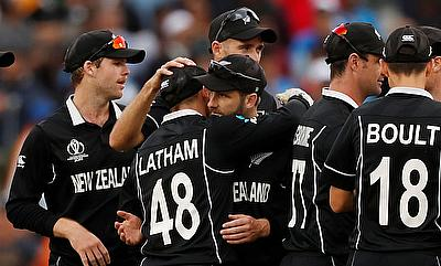 ICC Cricket World Cup Semi Final - India v New Zealand - Old Trafford, Manchester, Britain - July 10, 2019 New Zealand's Kane Williamson and Lockie Fe