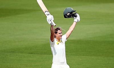 Australia's Ellyse Perry celebrates reaching her century