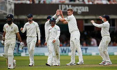 Ireland's Boyd Rankin celebrates taking the wicket of England's Moeen Ali