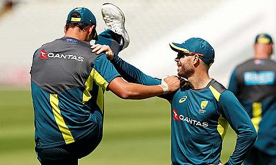 Australia's David Warner and Mitchell Starc during nets