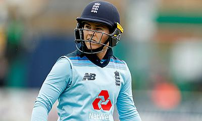 England's Tammy Beaumont reacts