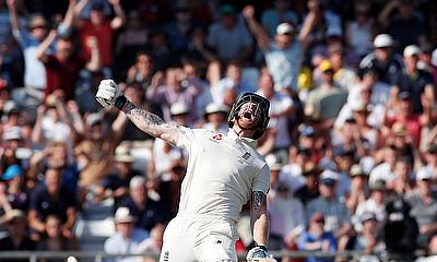 Ben Stokes celebrates as they win the test
