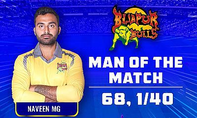 Naveen MG scored 68 runs at the strike rate of around 150