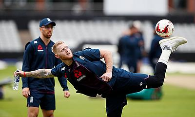 Ben Stokes plays football during nets